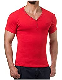 Young and Rich - Tee shirt homme col V Young and Rich 73 Rouge