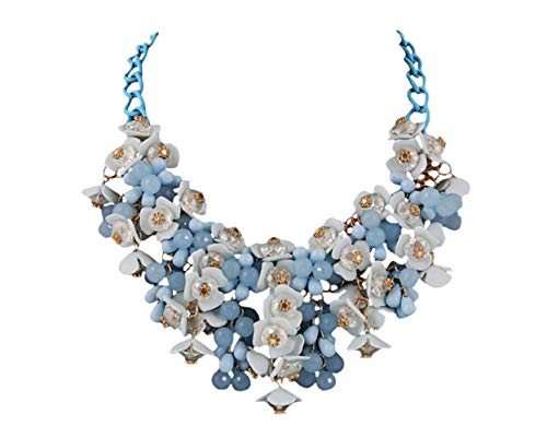 Deley donne di colore di candy cluster di cristallo floreali in rilievo choker bavaglino deco collare collana blu