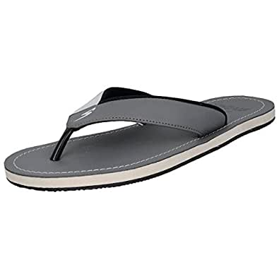 Stylar New Virat Synthetic Leather Flip FLops for Men (Color: Grey , Size: 8)