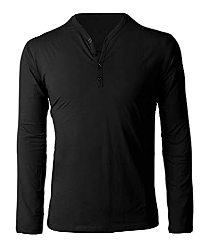 4How Cool Plain V Neck Men's T-Shirts Cotton Long Sleeve