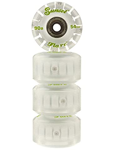 2016 Sunset Skateboards Green 54mm 90a Street LED Light-Up Wheels Set with ABEC-9 Bearings (4-Pack)