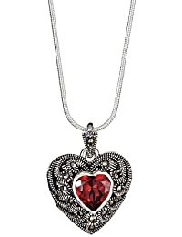 Diseño elegante corazón-colgante/camafeo en forma de cristales de color rojo y piedra marcasita, Plata de ley