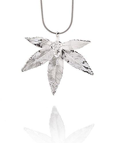 Foglia naturale Ana Morales da Donna Ciondolo Foglio acero giapponese placcato argento 925  Lunghezza ca 45-55mm