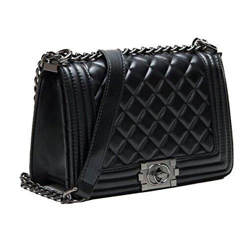 Yy.f Neue Freaky Leder-Handtasche Schulter Diagonal Ms. Kleine Duftender Wind Kette Tasche Kettentasche. Praktische Innen Black