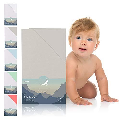 Spannbettlaken für Babybett Kinderbett - 60x120 bis 70x140 cm, atmungsaktiv, 100% Baumwolle (2er Set)