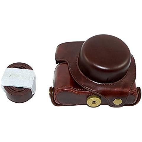 Protección pu cuero de la cámara del bolso del caso con el trípode Diseño Compatible para Panasonic LUMIX DMC-LX100 con hombro Correa para el cuello de la correa de Brown oscuro