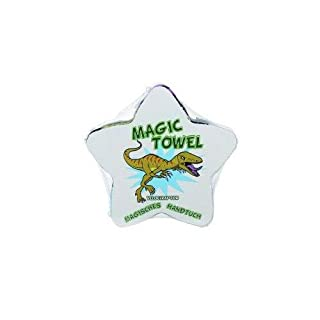 Magisches Handtuch Magic Towel Zauberhandtuch Dinosaurier Dino T-Rex Triceratops Mitbringsel Party Badespass Kinder Waschlappen