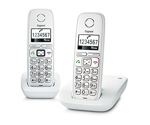 Gigaset e260 due telefoni corldess, tasti grandi, numeri sul display grandi, tastiera illuminata, suonerie e audio potenziato, bianco [italia]
