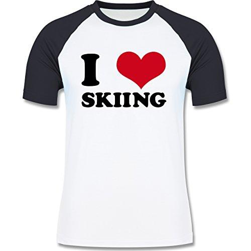 Wintersport - I Love Sking - zweifarbiges Baseballshirt für Männer Weiß/Navy Blau