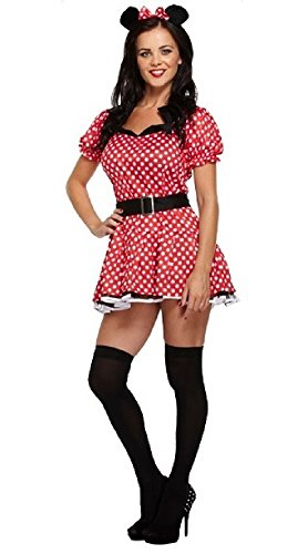 Kostüm Übergröße Minnie - Fancy Me Damen Sexy Rot Fräulein Minnie Maus Party Kostüm Outfit STD &Übergröße - Rot, Rot, STD (UK 10-14)
