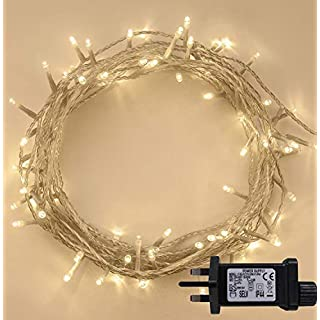 ANSIO 10m/33ft Indoor Outdoor Fairy 100 LED Lights - Warm White,10m