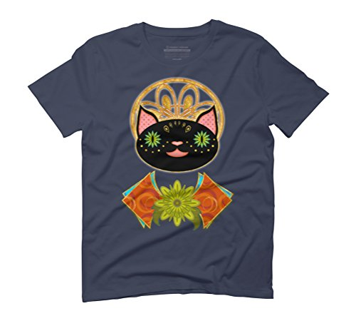 Smiling Black Cat Men's Graphic T-Shirt - Design By Humans Navy
