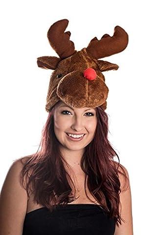 Moose Head Nosed Reindeer Wearing Santa Hat Brown Fun Trend