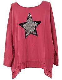 Mesdames Womens Lagenlook italienne excentrique Sequin étoiles Acid Wash coton épais lâche Baggy surdimensionné haut à manches longues Blouse une taille Plus UK 12-20