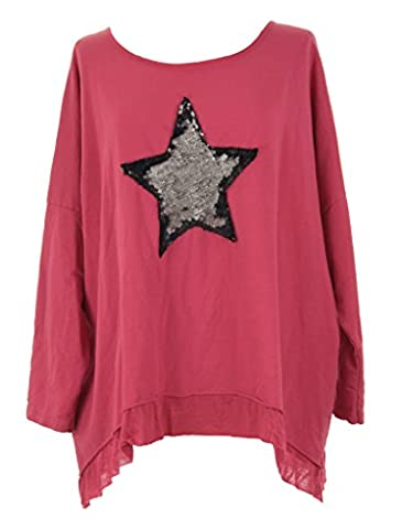 TEXTURE ONLINE Ladies Women Italian Lagenlook Quirky Sequin Star Acid Wash Long Sleeve Thick Cotton Loose Baggy Oversize Top Blouse Sweatshirt One Size Plus UK 12-20 (One Size Plus, Dark