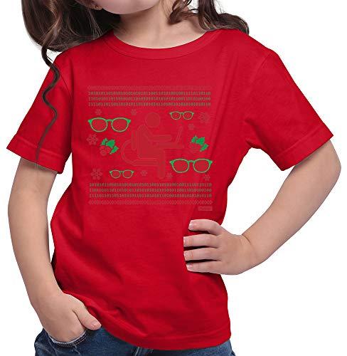 HARIZ  Mädchen T-Shirt Weihnachten Nerd Programmierer Weihnachten Weihnachts Familie Tannenbaum Plus Geschenkkarte Rot 128/7-8 Jahre