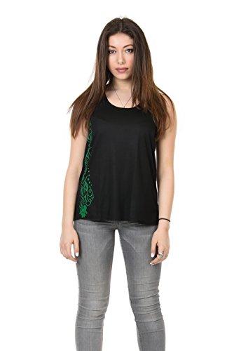 Trägertop Damen/Racerback T-Shirt locker mit Print Wald Ornament von 3 Elfen, schwarz grün M Sommertop