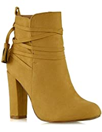 c38104e4360 ESSEX GLAM New Womens Ankle Boots Ladies High Block Heel Lace Up Zip  Booties Shoes Size