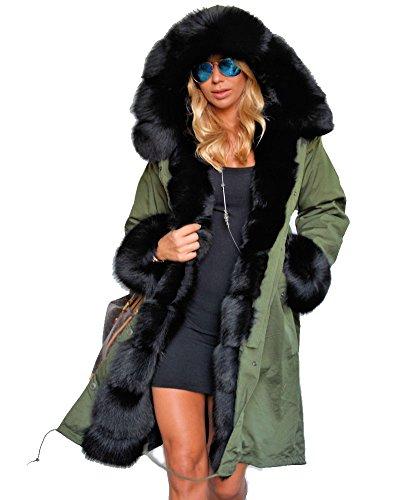 Roiii caldo invernale da donna in pelliccia sintetica, lunga-giacca a vento con cappuccio, taglie varie amry green
