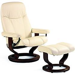 Stressless Bequemsessel inkl Hocker creme Echtleder Sessel Sitz Armlehnen Hochlehne Sitzmöbel