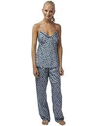 ed7ce34fe6 SaneShoppe Ladies Silk Touch Satin Pyjamas in Petit Fleur Print Faggotting Trim  Size 8…