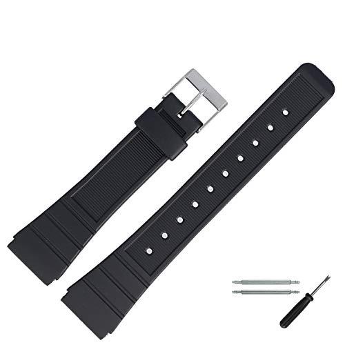 MARBURGER Uhrenarmband 20 mm Kunststoff Schwarz - 9602070200520