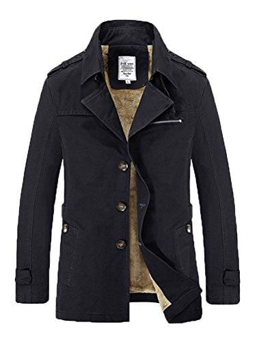MatchLife Herren Einreihig Trenchcoat Reverskragen Mantel Cabanjacke Style3 Black M (Fell Reverskragen-mantel)