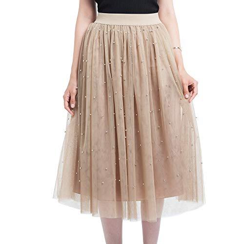 Andouy Damen Tutu Midi Rock Tüll Petticoat Friesen Mesh Plissee Dance Organza Dress-up Prinzessin Größe 36-46(36-46,Khaki)