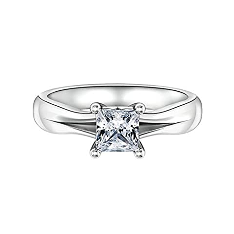 AMDXD Jewelry Sterling Silver Women Promise Customizable Rings Single 4-Prong CZ Size P