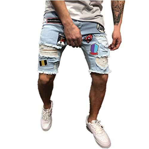 Uomo denim jeans shorts casual basic distrutto pantaloncini moda bermudas jeans da ricamo a brandelli da uomo jeans strappati in denim strappato in cotone (l, blu)