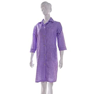 Ladies Gingham Check Work Overalls with ¾ Length Sleeves Lilac WX