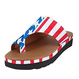BASACA Sandalen Damen Frauen Wohnungen Keile Offene Zehe Ankle Sommer Schuhe Frau Römische Mode 2019 (38 EU, B-Blau)