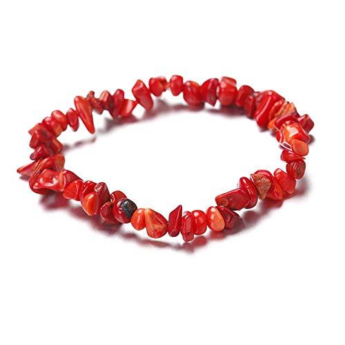 AITU Armband Neu Naturstein Chip Perlen Stretchy Armband Ethnischen Stil Farbigen Stein Armband, Rote Koralle (Jade-chip-armband)
