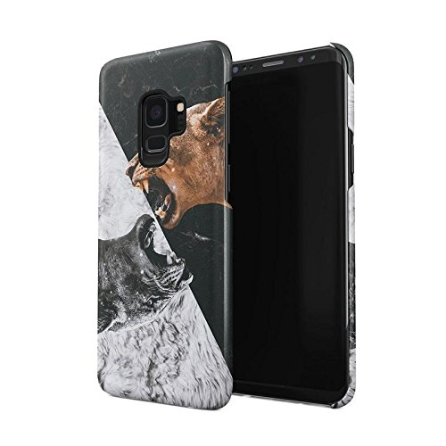 Mad Lion Queen Roar Schwarz and Weiß Yin and Yang Marmor Tumblr Dünne Rückschale aus Hartplastik für Samsung Galaxy S9 Handy Hülle Schutzhülle Slim Fit Case Cover -