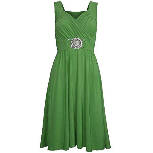 Womens Ladies Wrapover Silver Badge Belt Buckle Tie Back Sleeveless Midi Dress Jade-Grün-