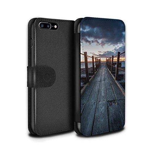 Stuff4 Coque/Etui/Housse Cuir PU Case/Cover pour Apple iPhone 8 Plus / Jetée Design / Bord Mer Anglaise Collection Passerelle en Bois