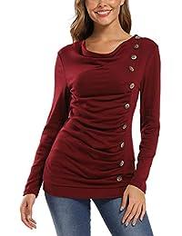 MISS MOLY Damen Langarmshirt Pullover mit Knöpfen