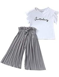 4-14 Años,SO-buts Niña Niñas Verano Letra Camiseta Tops + Volantes Pantalones Anchos Sueltos Trajes Traje, Traje De Bebé Para Sesión De Fotos