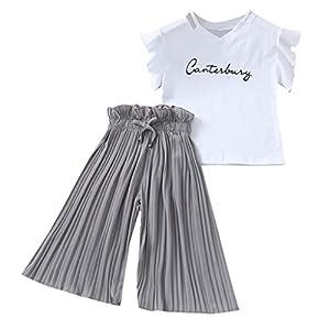 4-14 Años,SO-buts Niña Niñas Verano Letra Camiseta Tops + Volantes Pantalones Anchos Sueltos Trajes Traje, Traje De Bebé… 4