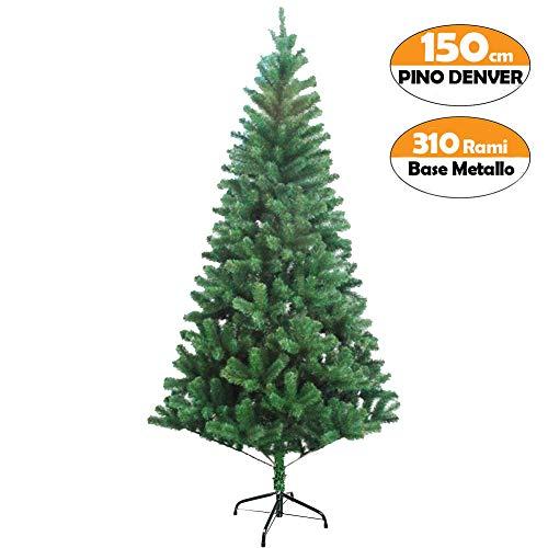 Bakaji albero di natale 150 cm nordico folto abete denver ecologico e ignifugo con base a croce in metallo rami folti, apertura ad ombrello, albero artificiale natalizio colore verde (150cm)