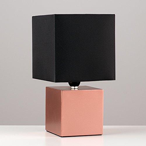 MiniSun Lampe de Table, Chevet Touch Moderne. Variateur Touch intégré. Pied en Forme d'un Cube Cuivré avec Abat-Jour Cubique en Tissu Noir