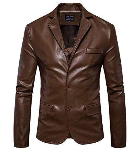 FAMLYJK Männer Zwei-Knopf-Leder-Blazer Super Natural Distressed Solid Color Lederjacken,Brown,2XL (- Brown-leder-blazer)