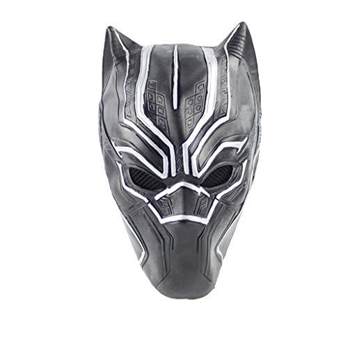 QWEASZER Captain America: Bürgerkrieg, PS4 Black Panther Masken, Marvel Avengers Maske - Perfekt für Karneval Halloween - Erwachsenen Kostüm - Latex, Unisex,Black panther-0cm~63cm
