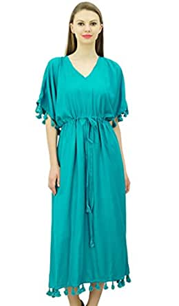 d91afef436 Bimba Women's Designer Tassel Kaftan Dress Short Kimono Sleeve Long ...