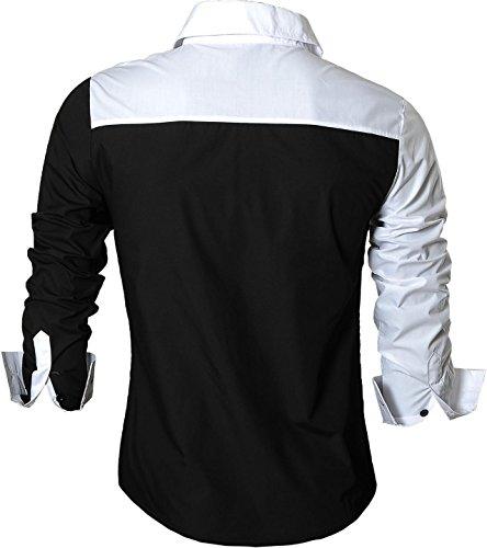 jeansian Herren Freizeit Hemden Shirt Tops Mode Langarmshirts Slim Fit 8397 Z015_Black