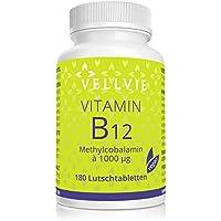 Vitamin B12 Lutschtabletten Vegan 1000 µg aktives Methylcobalamin ohne Magnesiumstearat 180 Stk. mit Frucht-Geschmack in Premium-Qualität, B12 Lozenge Hochdosiert im 6-Monatsvorrat von VELLVIE