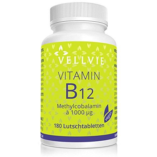 Vitamin B12 Lutschtabletten Vegan ohne Magnesiumstearat, 1000 mcg aktives Methylcobalamin 180 Stk. mit Zitronen-Geschmack, Hochdosiert von VELLVIE B12 Vitamine