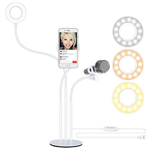 Neewer Luce LED Anulare da Selfie con Supporto Clip (Luminosità in 3 Modi & 8 Livelli) per Smartphone & Stand di Microfono per Streaming in Diretta, Trasmissioni, YouTube Video(Bianco)
