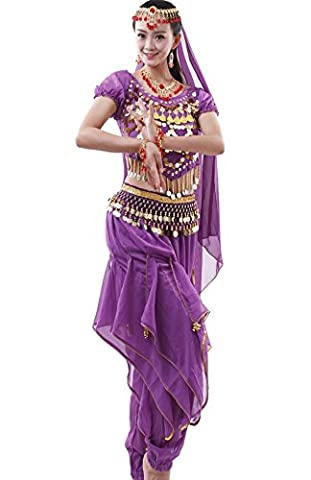 Women Belly Dance Costume Halter Top Harem Trousers Performance Set Purple