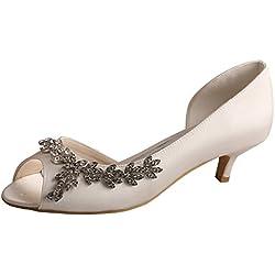 Wedopus , Damen Peep Toes , weiß - elfenbeinfarben - Größe: 42